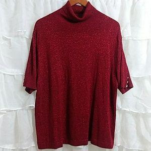 APT. 9 Short Sleeve Cowl Neck Sparkly Sweater 1X